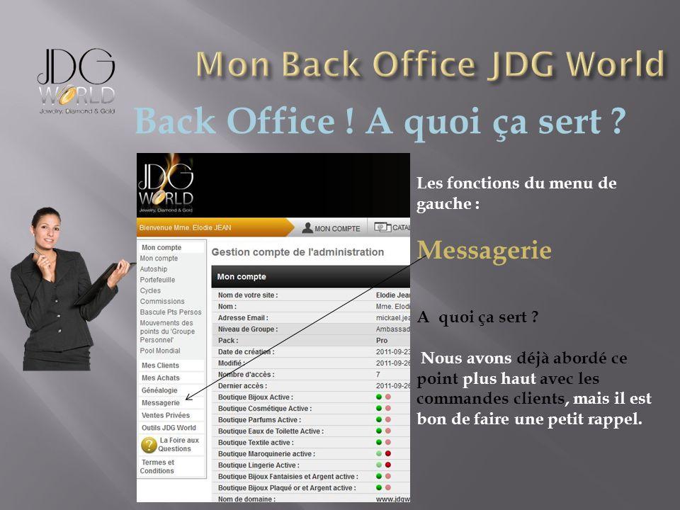 Back Office ! A quoi ça sert ? Les fonctions du menu de gauche : Messagerie A quoi ça sert ? Nous avons déjà abordé ce point plus haut avec les comman