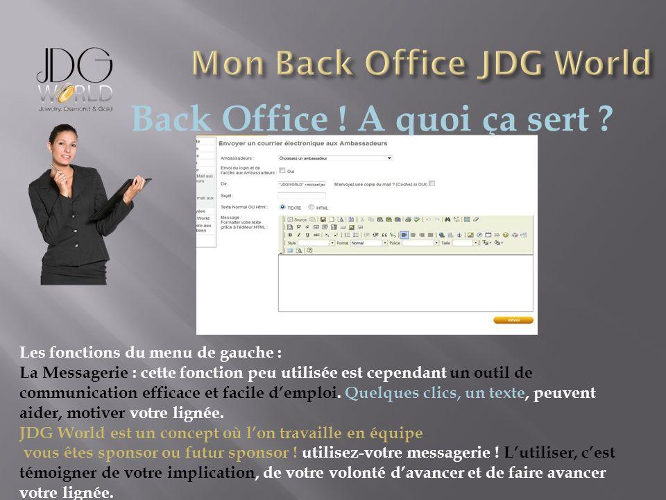 Back Office ! A quoi ça sert ? Les fonctions du menu de gauche : La Messagerie : cette fonction peu utilisée est cependant un outil de communication e