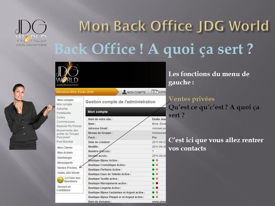 Back Office ! A quoi ça sert ? Les fonctions du menu de gauche : Ventes privées Quest ce qucest ? A quoi ça sert ? Cest ici que vous allez rentrer vos