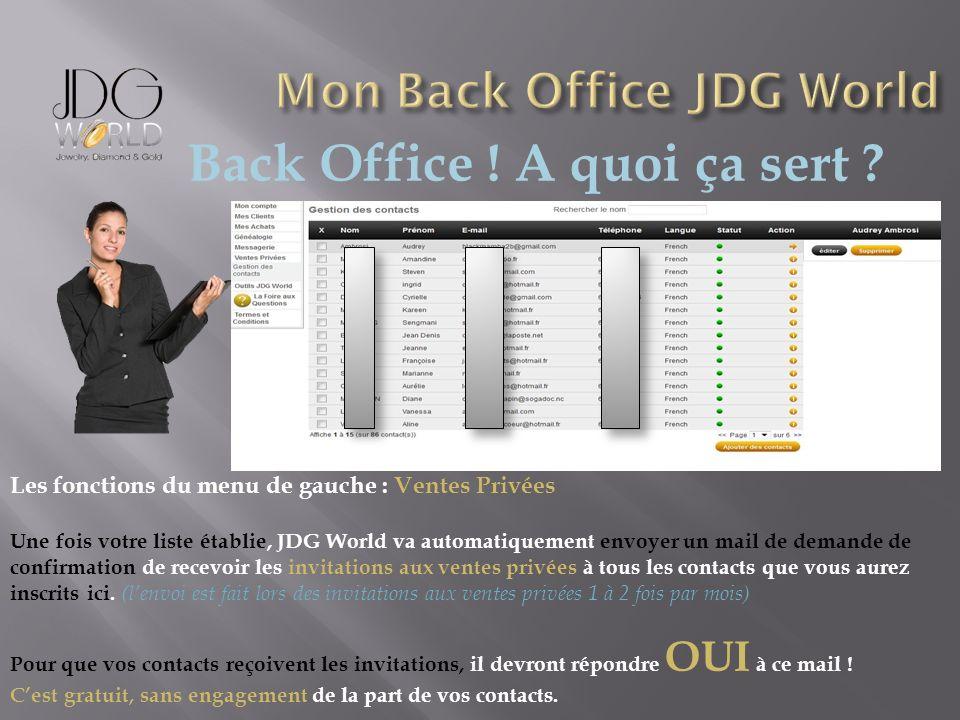 Back Office ! A quoi ça sert ? Les fonctions du menu de gauche : Ventes Privées Une fois votre liste établie, JDG World va automatiquement envoyer un