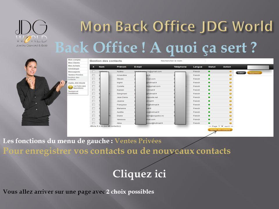 Back Office ! A quoi ça sert ? Les fonctions du menu de gauche : Ventes Privées Pour enregistrer vos contacts ou de nouveaux contacts Cliquez ici Vous