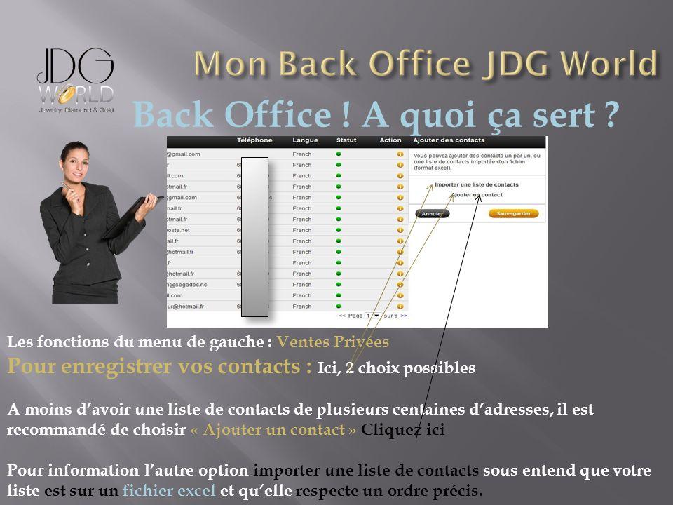 Back Office ! A quoi ça sert ? Les fonctions du menu de gauche : Ventes Privées Pour enregistrer vos contacts : Ici, 2 choix possibles A moins davoir