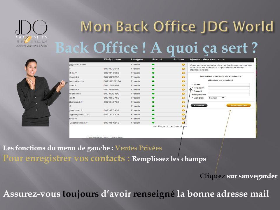 Back Office ! A quoi ça sert ? Les fonctions du menu de gauche : Ventes Privées Pour enregistrer vos contacts : Remplissez les champs Cliquez sur sauv