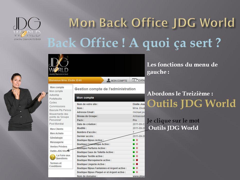 Back Office ! A quoi ça sert ? Les fonctions du menu de gauche : Abordons le Treizième : Outils JDG World Je clique sur le mot Outils JDG World