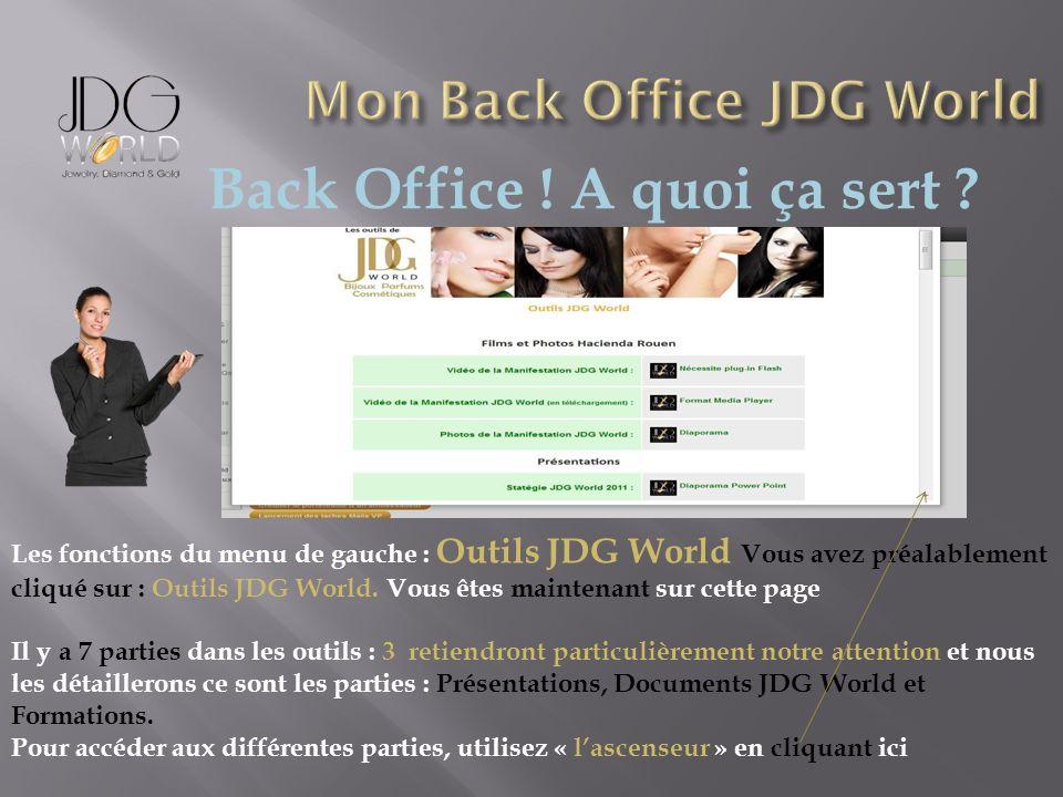 Back Office ! A quoi ça sert ? Les fonctions du menu de gauche : Outils JDG World Vous avez préalablement cliqué sur : Outils JDG World. Vous êtes mai