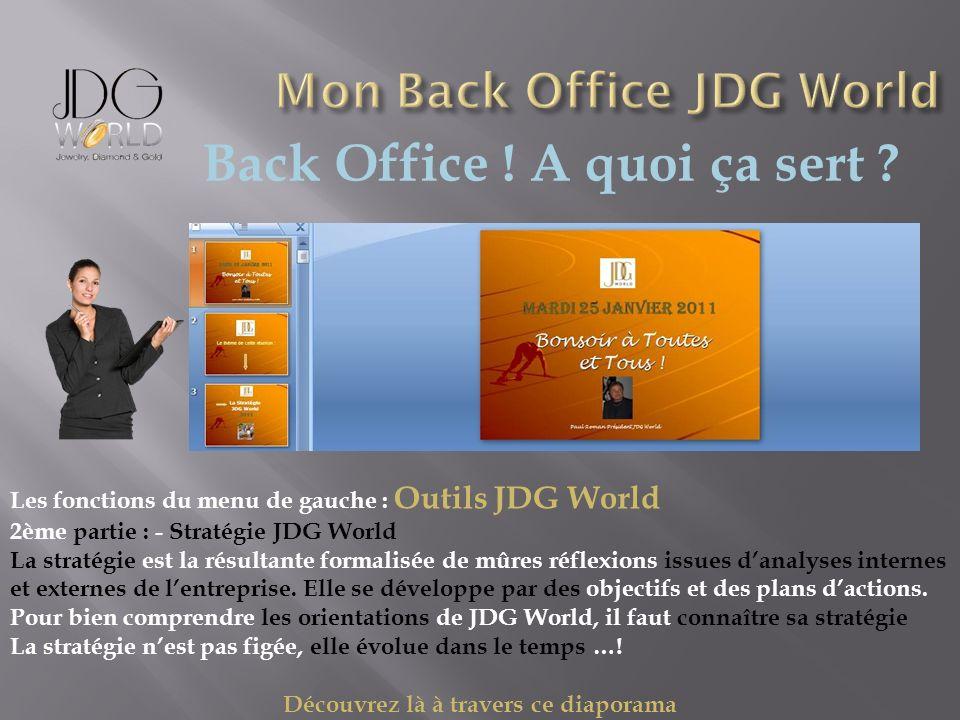 Back Office ! A quoi ça sert ? Les fonctions du menu de gauche : Outils JDG World 2ème partie : - Stratégie JDG World La stratégie est la résultante f