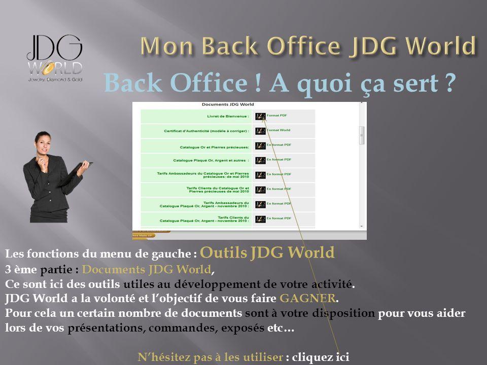 Back Office ! A quoi ça sert ? Les fonctions du menu de gauche : Outils JDG World 3 ème partie : Documents JDG World, Ce sont ici des outils utiles au