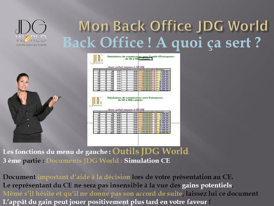 Back Office ! A quoi ça sert ? Les fonctions du menu de gauche : Outils JDG World 3 ème partie : Documents JDG World : Simulation CE Document importan