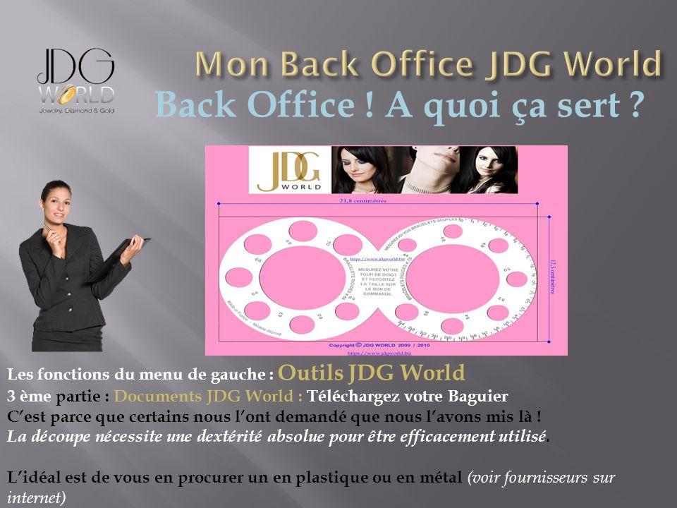 Back Office ! A quoi ça sert ? Les fonctions du menu de gauche : Outils JDG World 3 ème partie : Documents JDG World : Téléchargez votre Baguier Cest