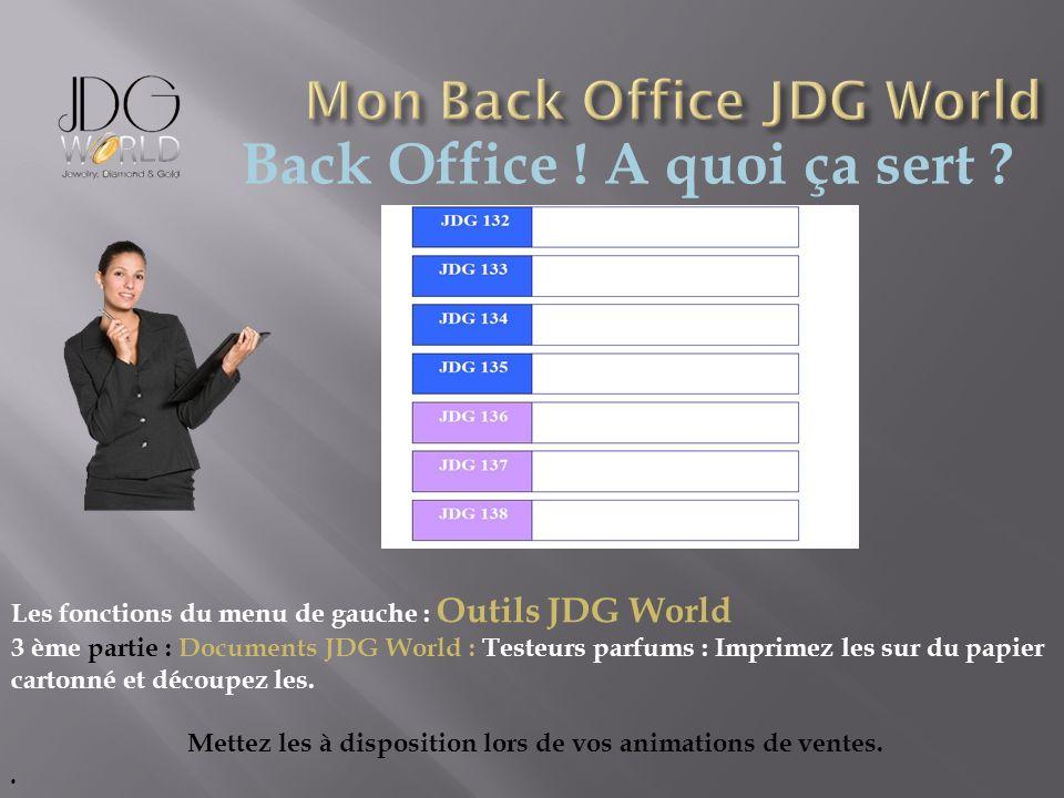 Back Office ! A quoi ça sert ? Les fonctions du menu de gauche : Outils JDG World 3 ème partie : Documents JDG World : Testeurs parfums : Imprimez les