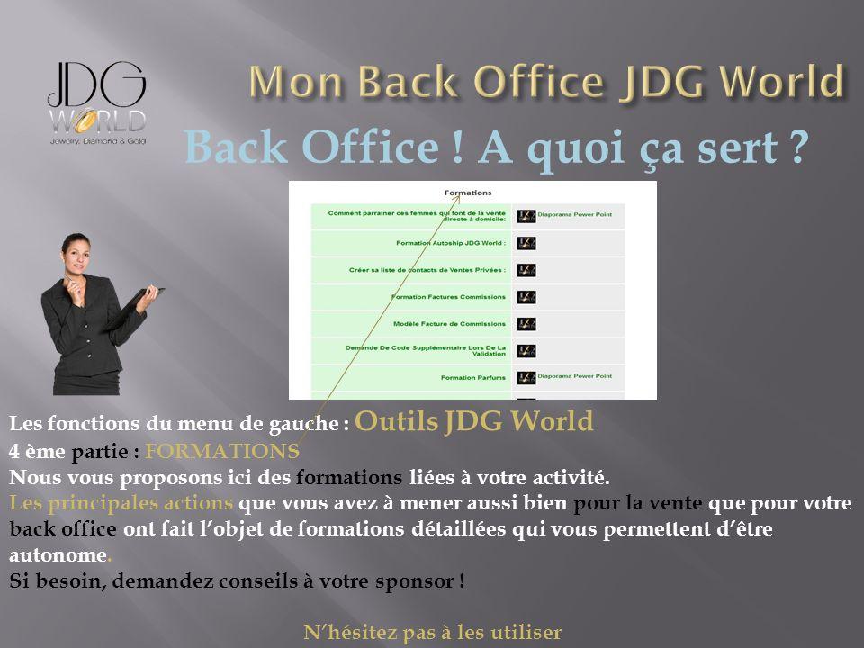 Back Office ! A quoi ça sert ? Les fonctions du menu de gauche : Outils JDG World 4 ème partie : FORMATIONS Nous vous proposons ici des formations lié