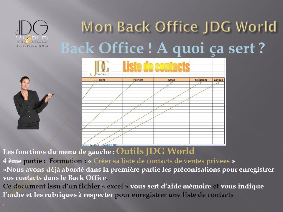 Back Office ! A quoi ça sert ? Les fonctions du menu de gauche : Outils JDG World 4 ème partie : Formation : « Créer sa liste de contacts de ventes pr