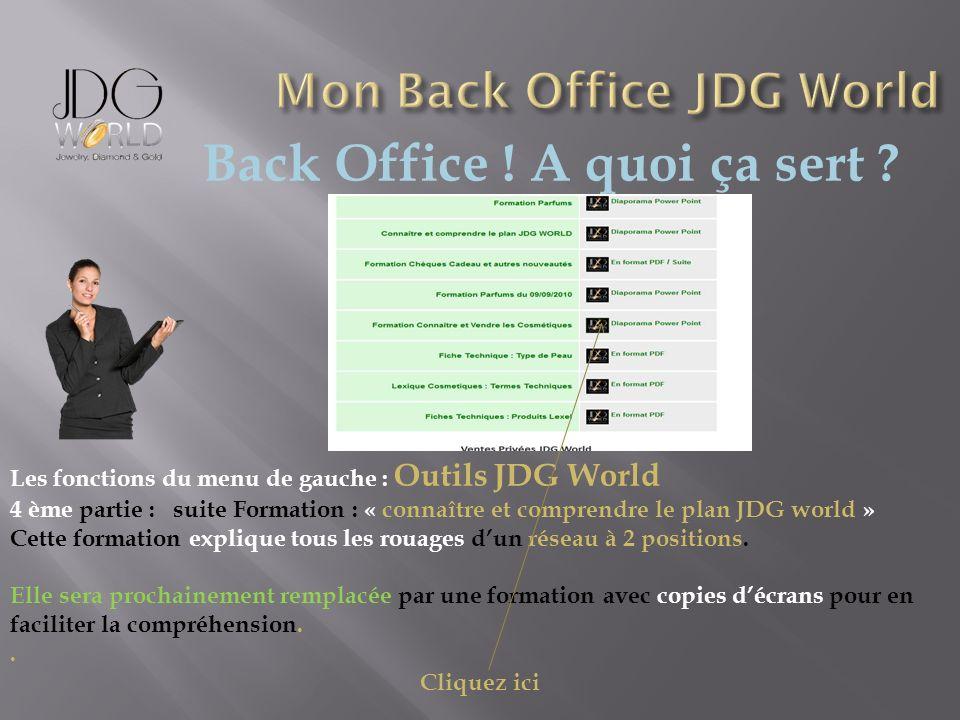 Back Office ! A quoi ça sert ? Les fonctions du menu de gauche : Outils JDG World 4 ème partie : suite Formation : « connaître et comprendre le plan J