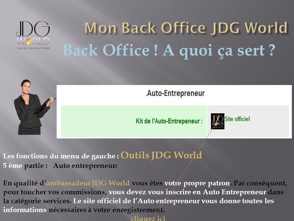Back Office ! A quoi ça sert ? Les fonctions du menu de gauche : Outils JDG World 5 ème partie : Auto entrepreneur: En qualité dambassadeur JDG World