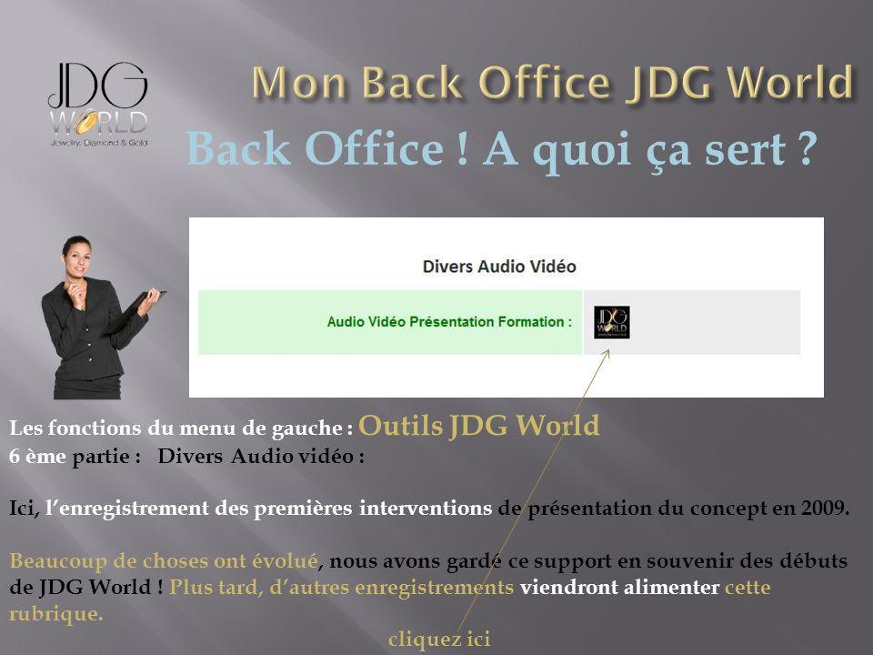 Back Office ! A quoi ça sert ? Les fonctions du menu de gauche : Outils JDG World 6 ème partie : Divers Audio vidéo : Ici, lenregistrement des premièr