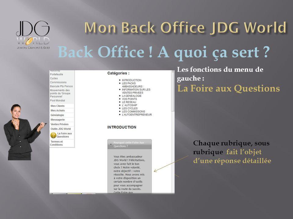 Back Office ! A quoi ça sert ? Les fonctions du menu de gauche : La Foire aux Questions Chaque rubrique, sous rubrique fait lobjet dune réponse détail