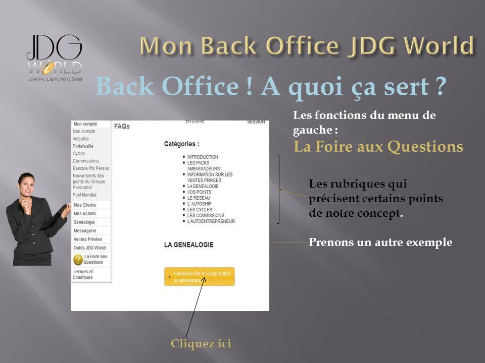 Back Office ! A quoi ça sert ? Les fonctions du menu de gauche : La Foire aux Questions Les rubriques qui précisent certains points de notre concept.
