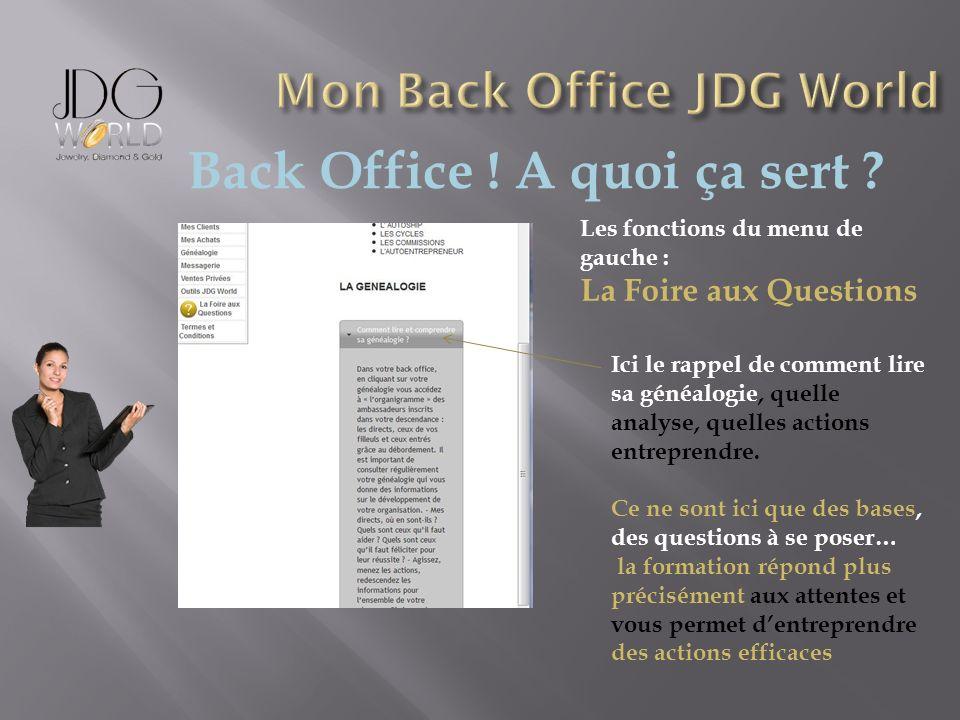 Back Office ! A quoi ça sert ? Les fonctions du menu de gauche : La Foire aux Questions Ici le rappel de comment lire sa généalogie, quelle analyse, q