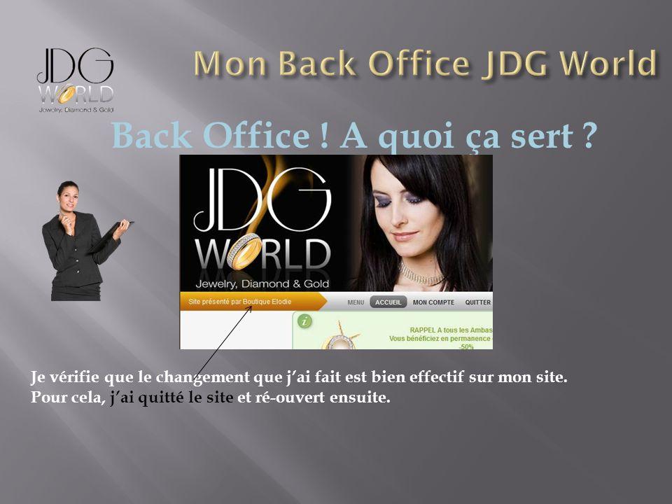 Back Office ! A quoi ça sert ? Je vérifie que le changement que jai fait est bien effectif sur mon site. Pour cela, jai quitté le site et ré-ouvert en