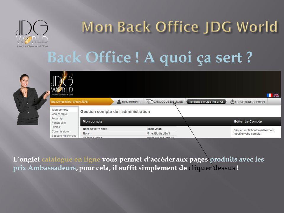 Back Office ! A quoi ça sert ? Longlet catalogue en ligne vous permet daccéder aux pages produits avec les prix Ambassadeurs, pour cela, il suffit sim