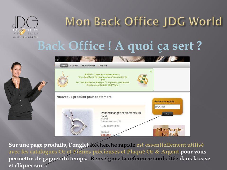 Back Office ! A quoi ça sert ? Sur une page produits, longlet Recherche rapide est essentiellement utilisé avec les catalogues Or et Pierres précieuse