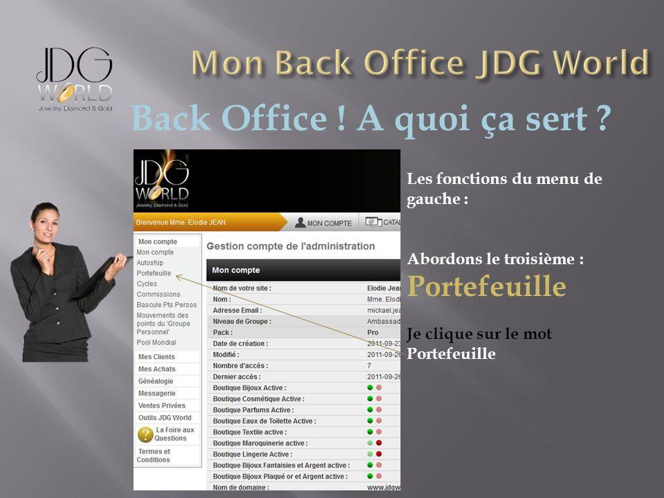 Back Office ! A quoi ça sert ? Les fonctions du menu de gauche : Abordons le troisième : Portefeuille Je clique sur le mot Portefeuille
