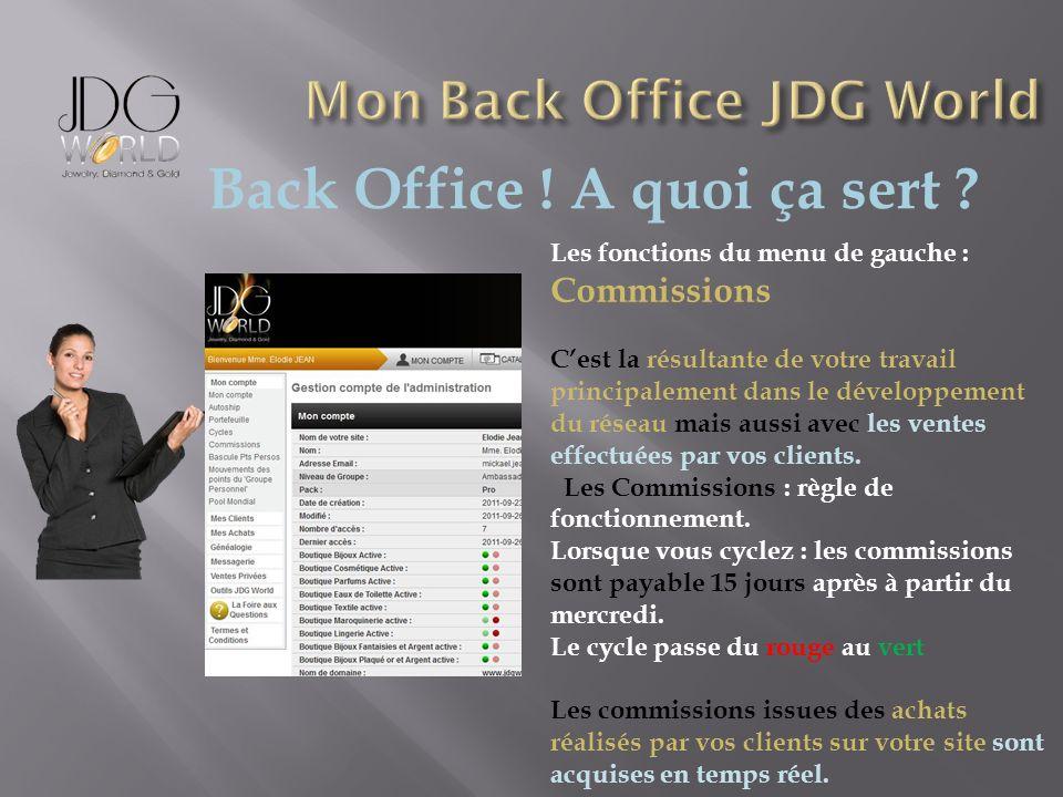 Back Office ! A quoi ça sert ? Les fonctions du menu de gauche : Commissions Cest la résultante de votre travail principalement dans le développement
