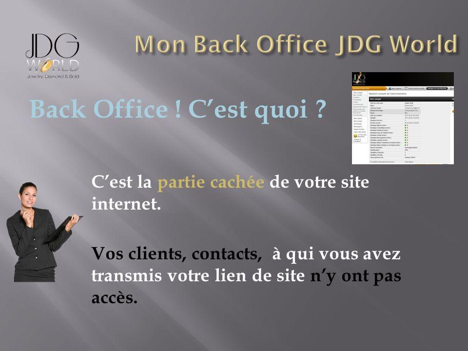 Cest la partie cachée de votre site internet. Vos clients, contacts, à qui vous avez transmis votre lien de site ny ont pas accès. Back Office ! Cest
