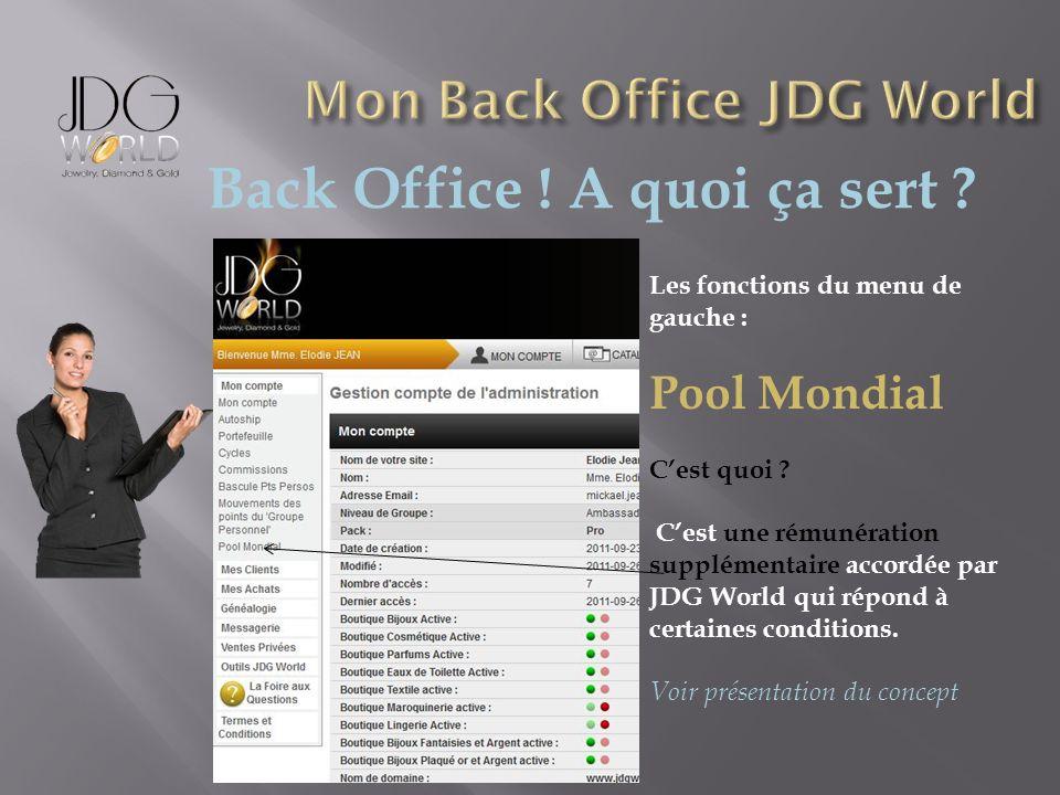 Back Office ! A quoi ça sert ? Les fonctions du menu de gauche : Pool Mondial Cest quoi ? Cest une rémunération supplémentaire accordée par JDG World
