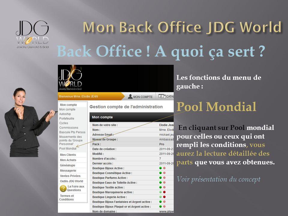 Back Office ! A quoi ça sert ? Les fonctions du menu de gauche : Pool Mondial En cliquant sur Pool mondial pour celles ou ceux qui ont rempli les cond