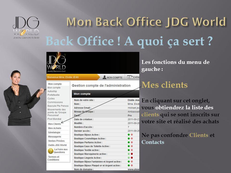 Back Office ! A quoi ça sert ? Les fonctions du menu de gauche : Mes clients En cliquant sur cet onglet, vous obtiendrez la liste des clients qui se s