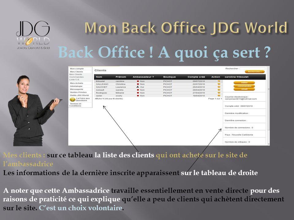 Back Office ! A quoi ça sert ? Mes clients : sur ce tableau la liste des clients qui ont acheté sur le site de lambassadrice Les informations de la de