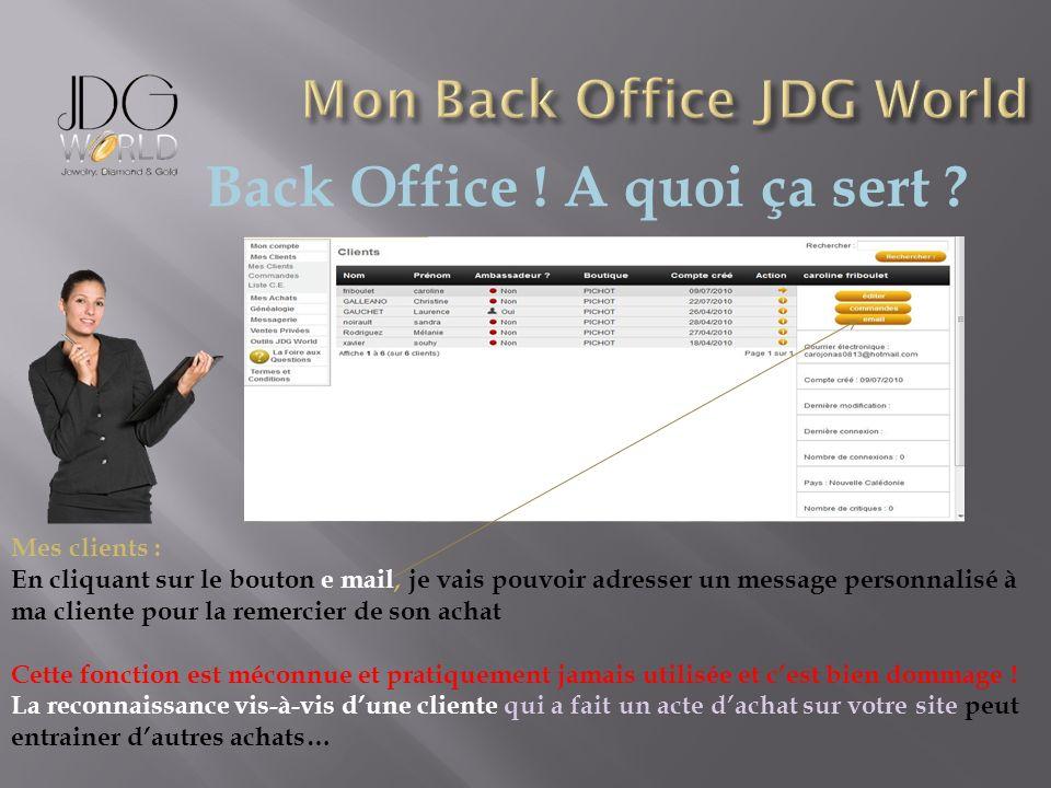 Back Office ! A quoi ça sert ? Mes clients : En cliquant sur le bouton e mail, je vais pouvoir adresser un message personnalisé à ma cliente pour la r