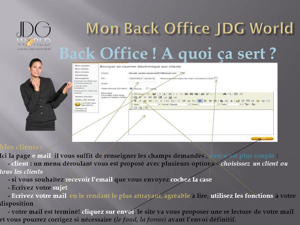 Back Office ! A quoi ça sert ? Mes clients : Ici la page e mail, il vous suffit de renseigner les champs demandés, rien nest plus simple : - client :