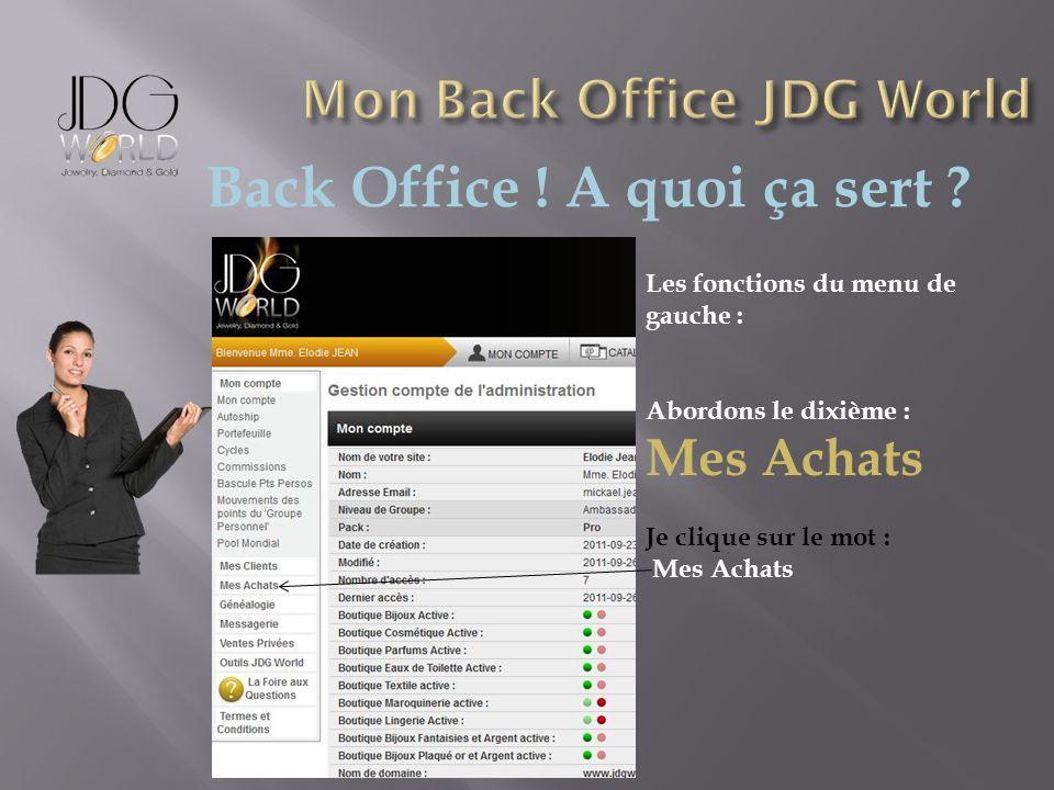 Back Office ! A quoi ça sert ? Les fonctions du menu de gauche : Abordons le dixième : Mes Achats Je clique sur le mot : Mes Achats