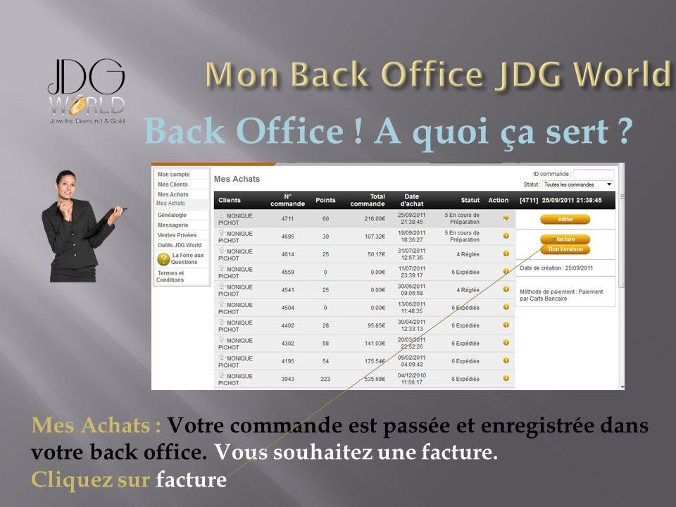 Back Office ! A quoi ça sert ? Mes Achats : Votre commande est passée et enregistrée dans votre back office. Vous souhaitez une facture. Cliquez sur f