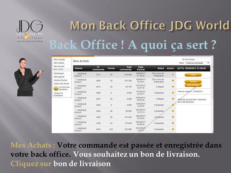 Back Office ! A quoi ça sert ? Mes Achats : Votre commande est passée et enregistrée dans votre back office. Vous souhaitez un bon de livraison. Cliqu