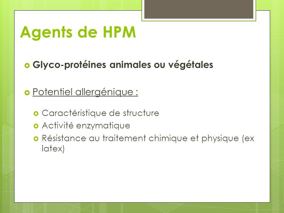 Agents de HPM Glyco-protéines animales ou végétales Potentiel allergénique : Caractéristique de structure Activité enzymatique Résistance au traitemen