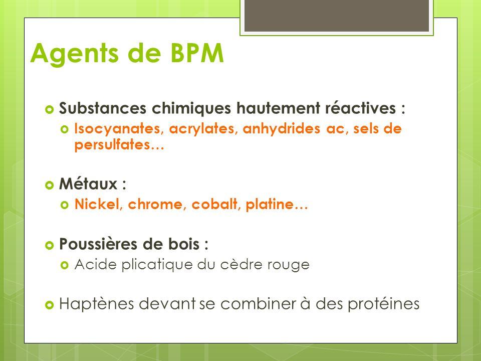 Agents de BPM Substances chimiques hautement réactives : Isocyanates, acrylates, anhydrides ac, sels de persulfates… Métaux : Nickel, chrome, cobalt,