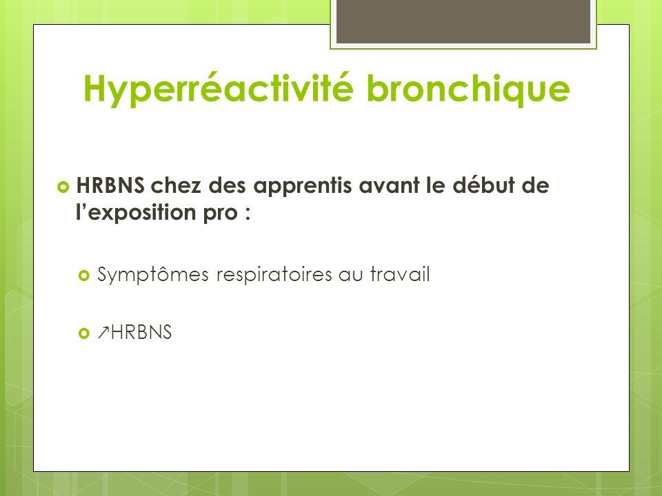 Hyperréactivité bronchique HRBNS chez des apprentis avant le début de lexposition pro : Symptômes respiratoires au travail HRBNS