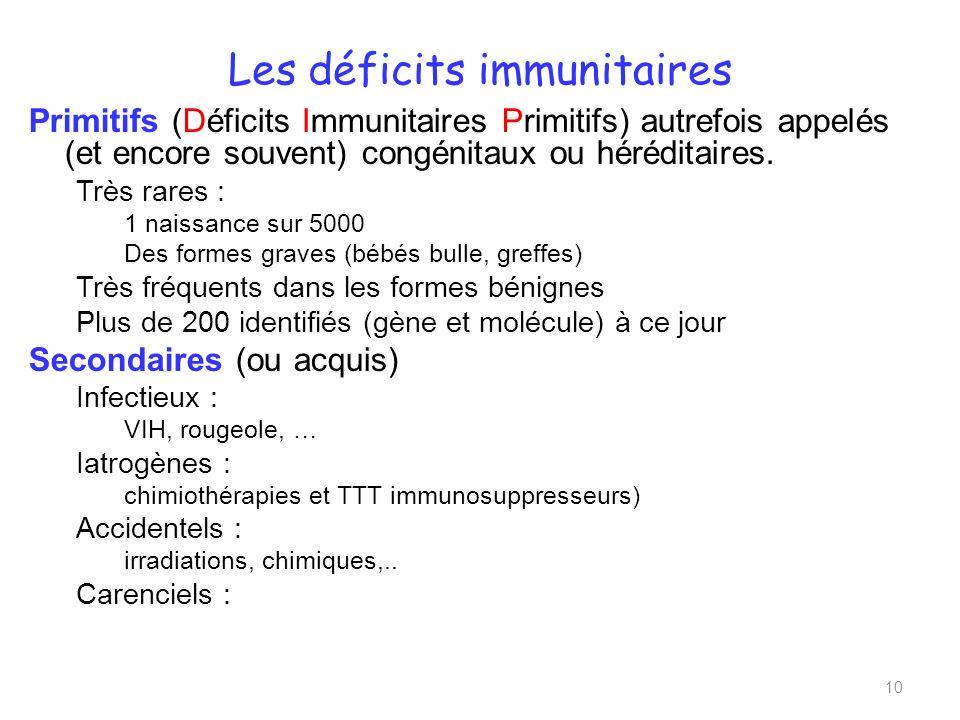 Primitifs (Déficits Immunitaires Primitifs) autrefois appelés (et encore souvent) congénitaux ou héréditaires.