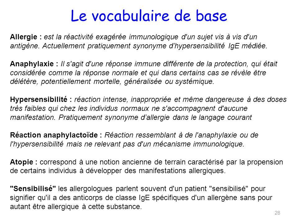 Le vocabulaire de base 28 Allergie : est la réactivité exagérée immunologique d un sujet vis à vis d un antigène.