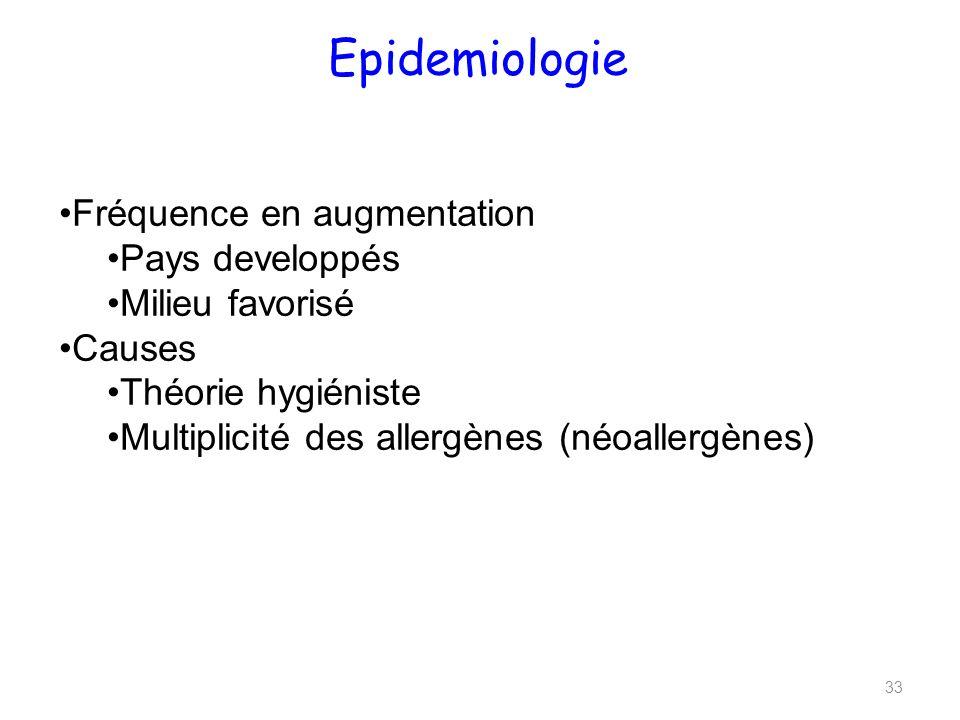 Epidemiologie 33 Fréquence en augmentation Pays developpés Milieu favorisé Causes Théorie hygiéniste Multiplicité des allergènes (néoallergènes)