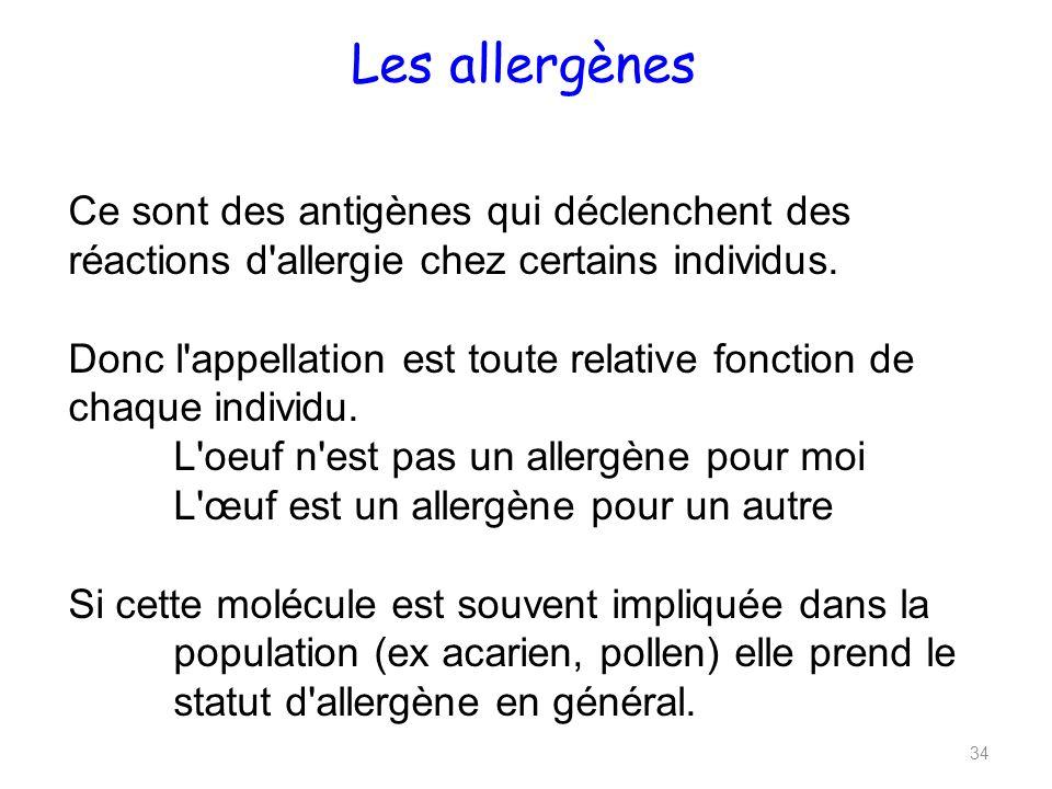 Les allergènes 34 Ce sont des antigènes qui déclenchent des réactions d allergie chez certains individus.