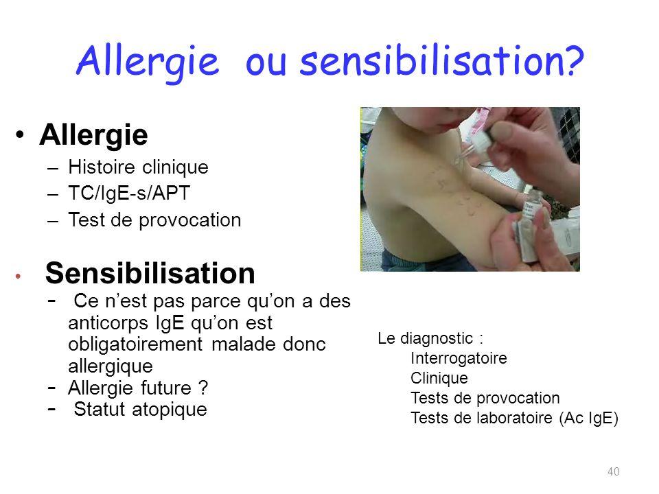 Allergie ou sensibilisation.