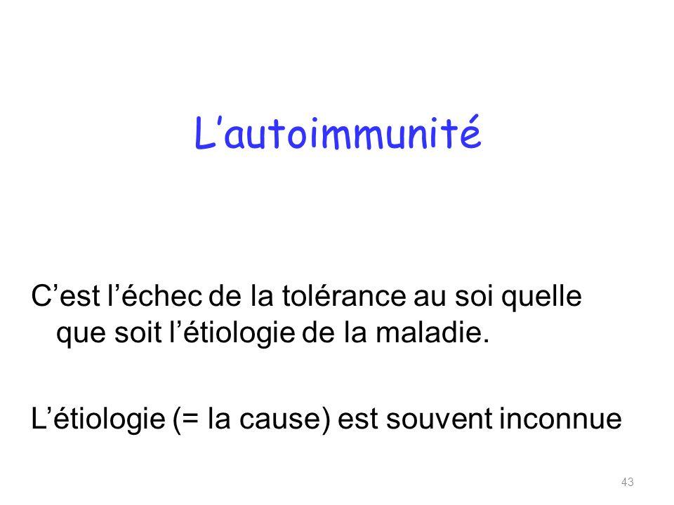 Lautoimmunité Cest léchec de la tolérance au soi quelle que soit létiologie de la maladie.