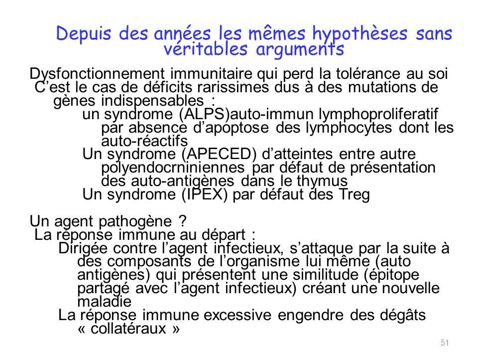 Depuis des années les mêmes hypothèses sans véritables arguments Dysfonctionnement immunitaire qui perd la tolérance au soi Cest le cas de déficits rarissimes dus à des mutations de gènes indispensables : un syndrome (ALPS)auto-immun lymphoproliferatif par absence dapoptose des lymphocytes dont les auto-réactifs Un syndrome (APECED) datteintes entre autre polyendocrniniennes par défaut de présentation des auto-antigènes dans le thymus Un syndrome (IPEX) par défaut des Treg Un agent pathogène .