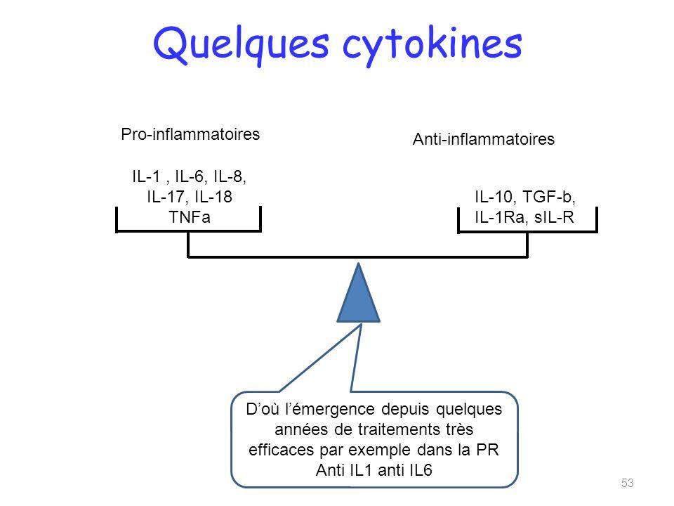 Quelques cytokines 53 Pro-inflammatoires Anti-inflammatoires IL-1, IL-6, IL-8, IL-17, IL-18 TNFa IL-10, TGF-b, IL-1Ra, sIL-R Doù lémergence depuis quelques années de traitements très efficaces par exemple dans la PR Anti IL1 anti IL6