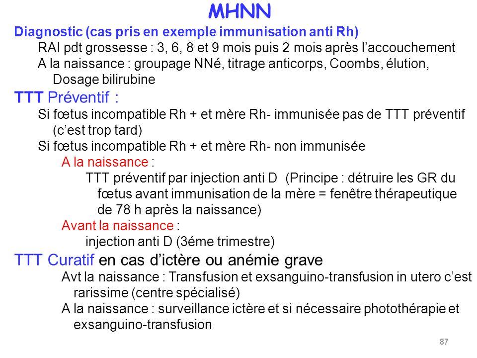 MHNN Diagnostic (cas pris en exemple immunisation anti Rh) RAI pdt grossesse : 3, 6, 8 et 9 mois puis 2 mois après laccouchement A la naissance : groupage NNé, titrage anticorps, Coombs, élution, Dosage bilirubine TTT Préventif : Si fœtus incompatible Rh + et mère Rh- immunisée pas de TTT préventif (cest trop tard) Si fœtus incompatible Rh + et mère Rh- non immunisée A la naissance : TTT préventif par injection anti D (Principe : détruire les GR du fœtus avant immunisation de la mère = fenêtre thérapeutique de 78 h après la naissance) Avant la naissance : injection anti D (3éme trimestre) TTT Curatif en cas dictère ou anémie grave Avt la naissance : Transfusion et exsanguino-transfusion in utero cest rarissime (centre spécialisé) A la naissance : surveillance ictère et si nécessaire photothérapie et exsanguino-transfusion 87