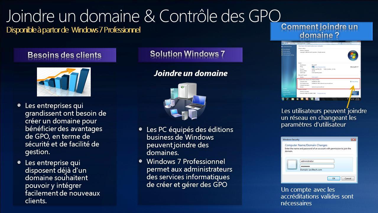 Les PC équipés des éditions business de Windows peuvent joindre des domaines. Windows 7 Professionnel permet aux administrateurs des services informat